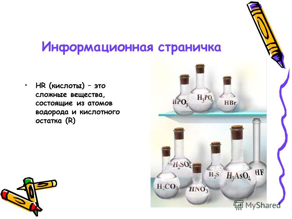 Информационная страничка НR (кислоты) – это сложные вещества, состоящие из атомов водорода и кислотного остатка (R)