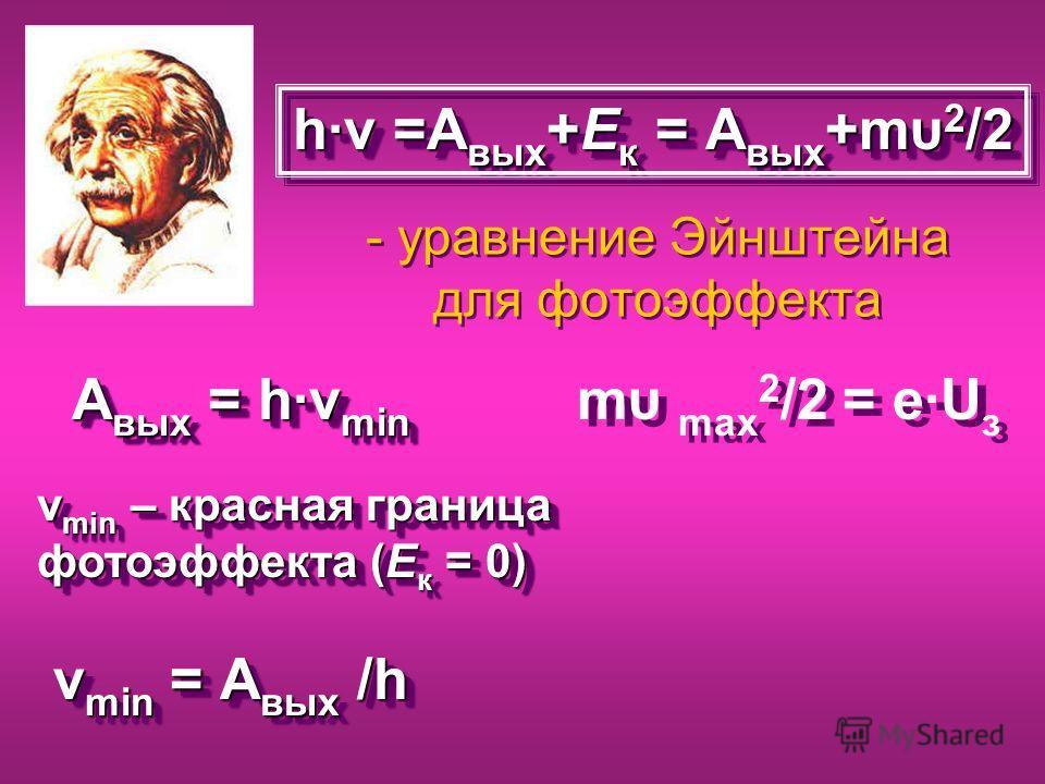 - уравнение Эйнштейна для фотоэффекта h·ν =А вых +Е к = А вых +mυ 2 /2 А вых = h·ν min ν min – красная граница фотоэффекта (Е к = 0) ν min = А вых /h ν min = А вых /h ν min – красная граница фотоэффекта (Е к = 0) ν min = А вых /h ν min = А вых /h mυ