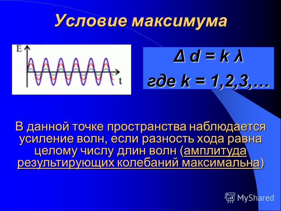 Условие максимума Δ d = k λ где k = 1,2,3,… В данной точке пространства наблюдается усиление волн, если разность хода равна целому числу длин волн (амплитуда результирующих колебаний максимальна)