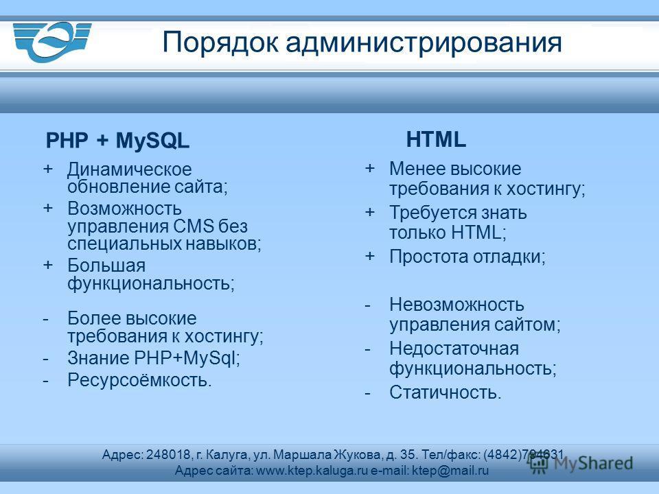 +Динамическое обновление сайта; +Возможность управления CMS без специальных навыков; +Большая функциональность; -Более высокие требования к хостингу; -Знание PHP+MySql; -Ресурсоёмкость. PHP + MySQL HTML +Менее высокие требования к хостингу; +Требуетс