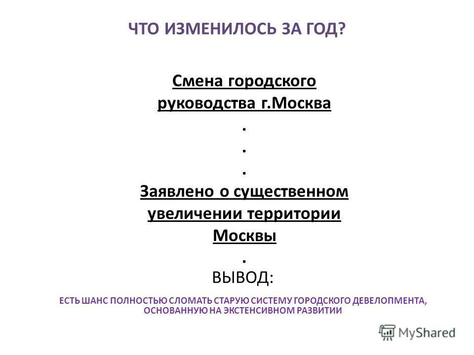 ЧТО ИЗМЕНИЛОСЬ ЗА ГОД? Смена городского руководства г.Москва. Заявлено о существенном увеличении территории Москвы. ВЫВОД: ЕСТЬ ШАНС ПОЛНОСТЬЮ СЛОМАТЬ СТАРУЮ СИСТЕМУ ГОРОДСКОГО ДЕВЕЛОПМЕНТА, ОСНОВАННУЮ НА ЭКСТЕНСИВНОМ РАЗВИТИИ