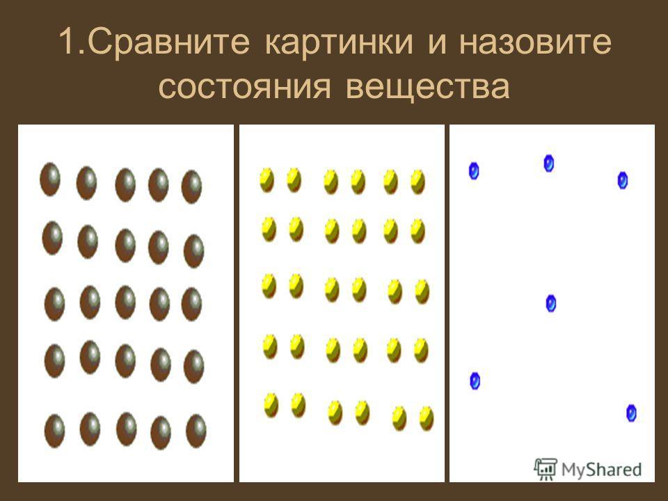 1.Сравните картинки и назовите состояния вещества