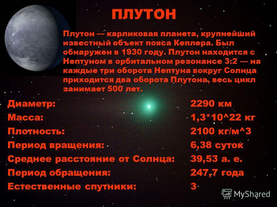 Плутон Диаметр:2290 км Масса:1,3*10^22 кг Плотность:2100 кг/м^3 Период вращения:6,38 суток Среднее расстояние от Солнца:39,53 а. е. Период обращения:247,7 года Естественные спутники:3 ПЛУТОН Плутон карликовая планета, крупнейший известный объект пояс