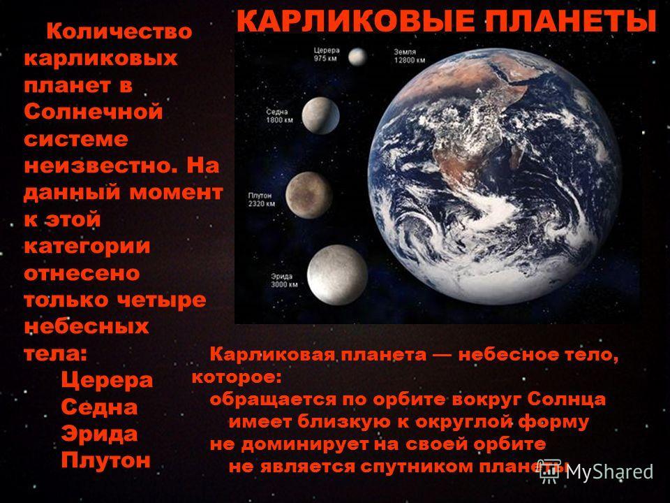 Количество карликовых планет в Солнечной системе неизвестно. На данный момент к этой категории отнесено только четыре небесных тела: Церера Седна Эрида Плутон Карликовая планета небесное тело, которое: обращается по орбите вокруг Солнца имеет близкую