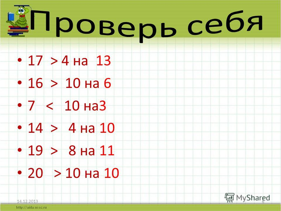 17 > 4 на 13 16 > 10 на 6 7 < 10 на3 14 > 4 на 10 19 > 8 на 11 20 > 10 на 10 14.12.20136
