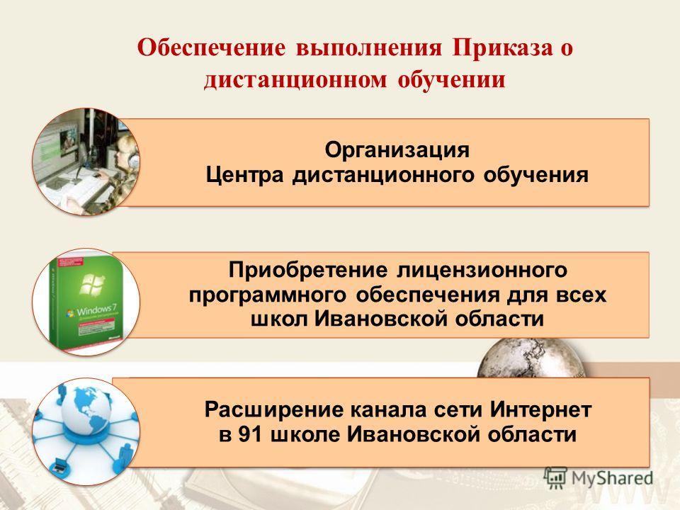 Обеспечение выполнения Приказа о дистанционном обучении Организация Центра дистанционного обучения Приобретение лицензионного программного обеспечения для всех школ Ивановской области Расширение канала сети Интернет в 91 школе Ивановской области