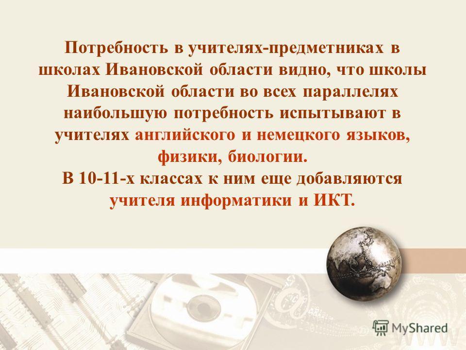 Потребность в учителях-предметниках в школах Ивановской области видно, что школы Ивановской области во всех параллелях наибольшую потребность испытывают в учителях английского и немецкого языков, физики, биологии. В 10-11-х классах к ним еще добавляю