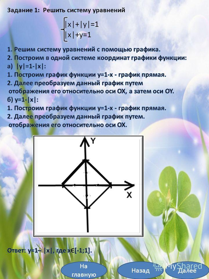 На главную ДалееНазад Задание 1: Решить систему уравнений  x + y =1  x +y=1