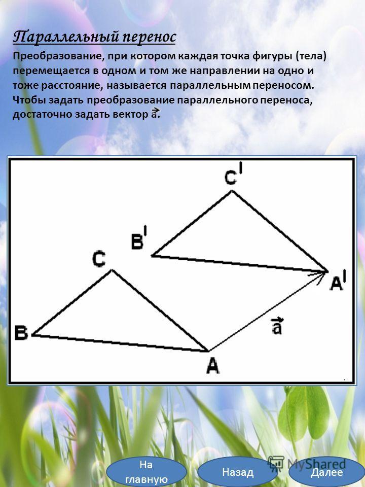 Параллельный перенос Преобразование, при котором каждая точка фигуры (тела) перемещается в одном и том же направлении на одно и тоже расстояние, называется параллельным переносом. Чтобы задать преобразование параллельного переноса, достаточно задать