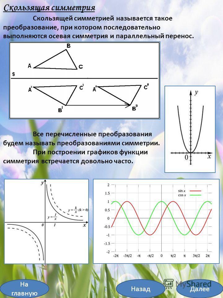На главную ДалееНазад Скользящая симметрия Скользящей симметрией называется такое преобразование, при котором последовательно выполняются осевая симметрия и параллельный перенос. Все перечисленные преобразования будем называть преобразованиями симмет