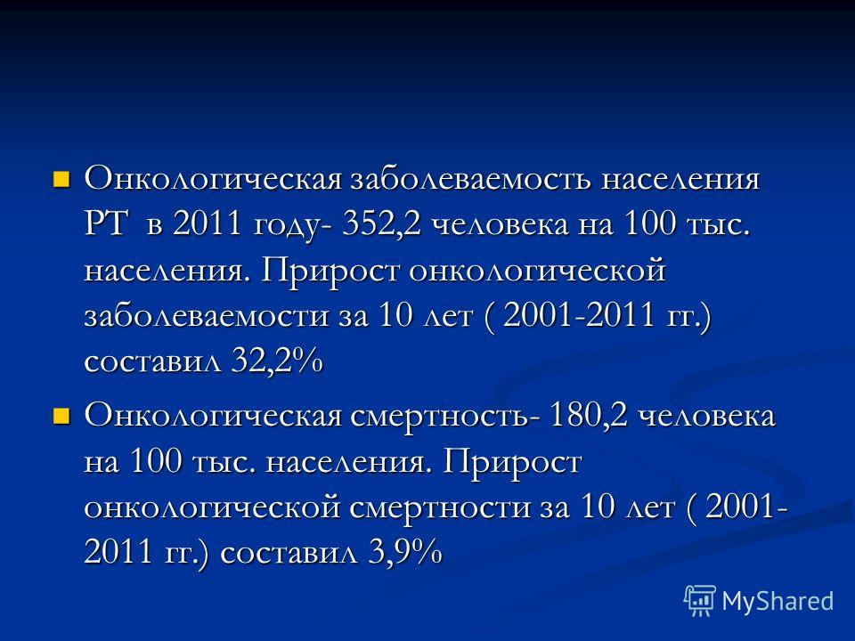 Онкологическая заболеваемость населения РТ в 2011 году- 352,2 человека на 100 тыс. населения. Прирост онкологической заболеваемости за 10 лет ( 2001-2011 гг.) составил 32,2% Онкологическая заболеваемость населения РТ в 2011 году- 352,2 человека на 10