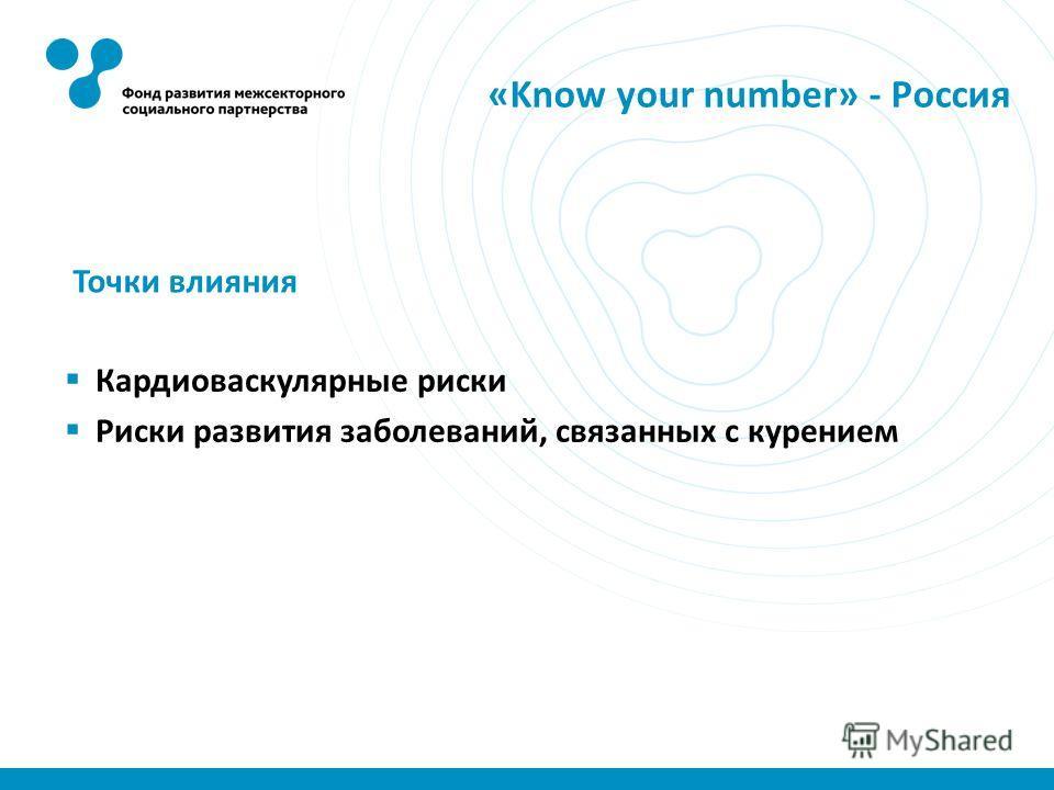«Know your number» - Россия Кардиоваскулярные риски Риски развития заболеваний, связанных с курением Точки влияния