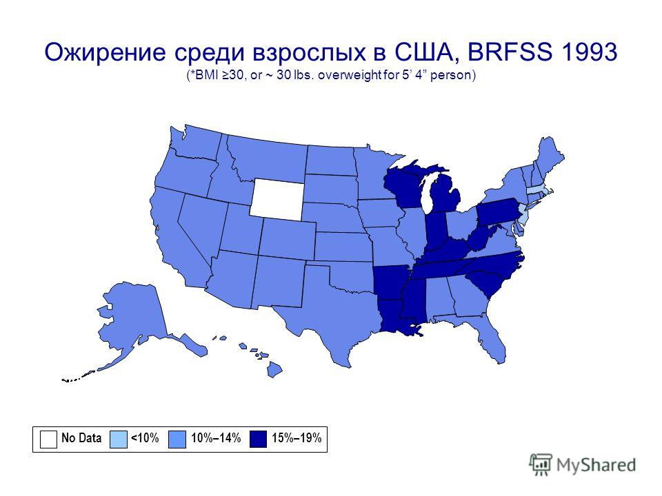 Oжирение среди взрослых в США, BRFSS 1993 (*BMI 30, or ~ 30 lbs. overweight for 5 4 person) No Data