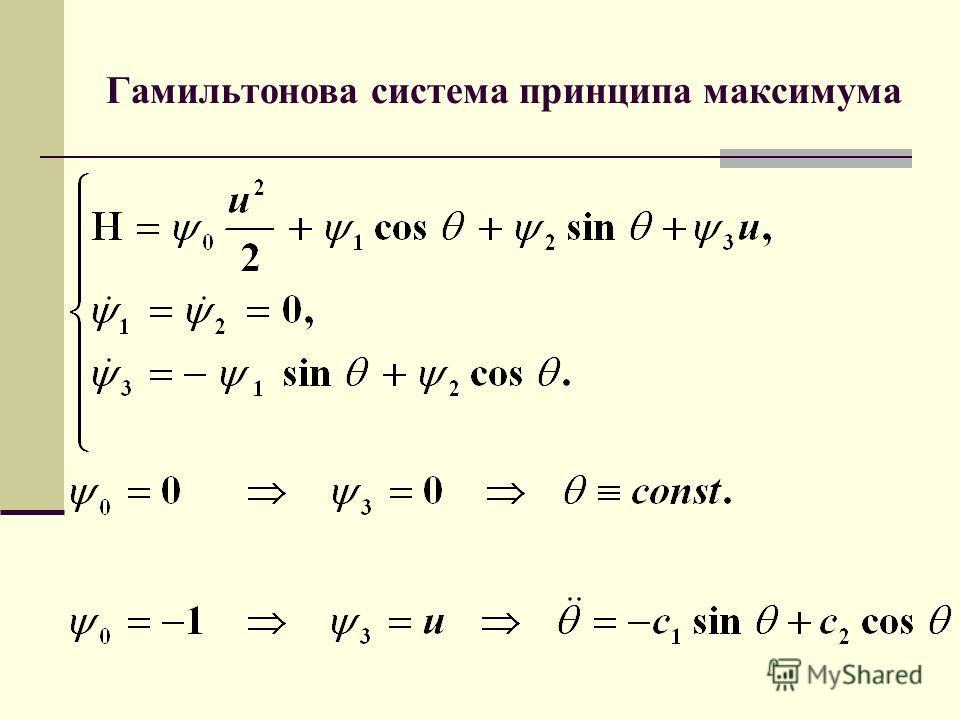 Гамильтонова система принципа максимума