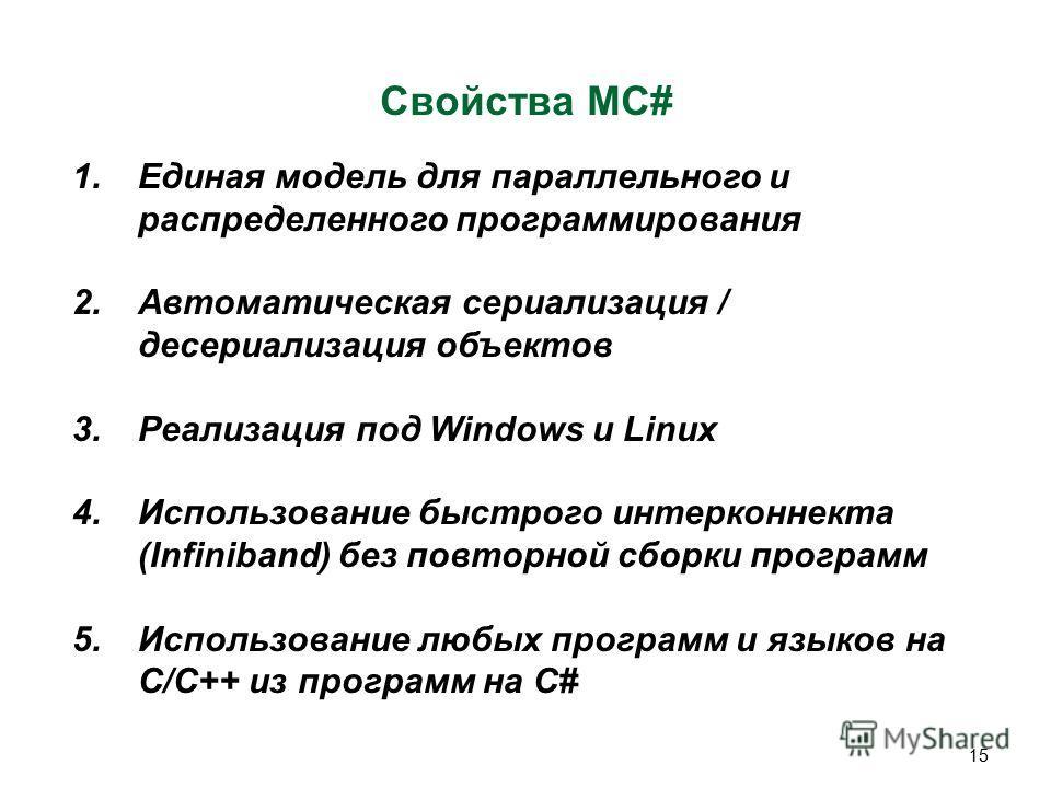 15 Свойства MC# 1.Единая модель для параллельного и распределенного программирования 2.Автоматическая сериализация / десериализация объектов 3.Реализация под Windows и Linux 4.Использование быстрого интерконнекта (Infiniband) без повторной сборки про