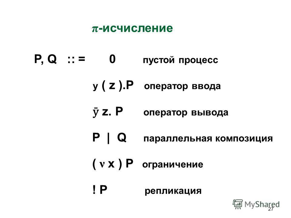 27 π -исчисление P, Q :: = 0 пустой процесс y ( z ).P оператор ввода ӯ z. P оператор вывода P | Q параллельная композиция ( ν x ) P ограничение ! P репликация