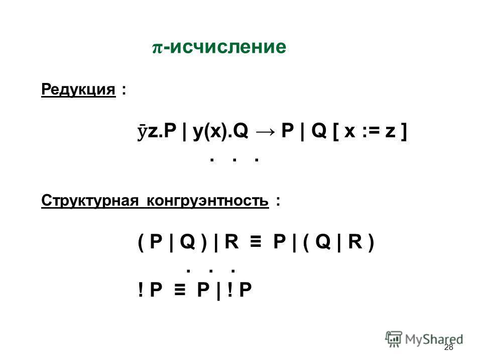 28 π -исчисление Редукция : ӯ z.P | y(x).Q P | Q [ x := z ]... Структурная конгруэнтность : ( P | Q ) | R P | ( Q | R )... ! P P | ! P