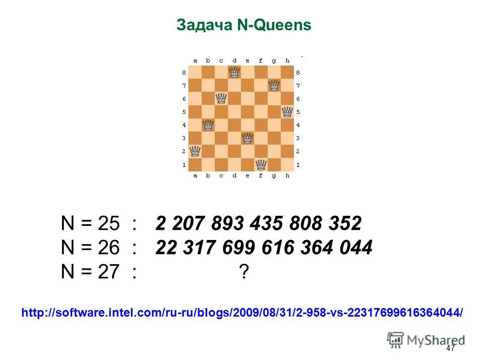 47 Задача N-Queens N = 25 : 2 207 893 435 808 352 N = 26 : 22 317 699 616 364 044 N = 27 : ? http://software.intel.com/ru-ru/blogs/2009/08/31/2-958-vs-22317699616364044/