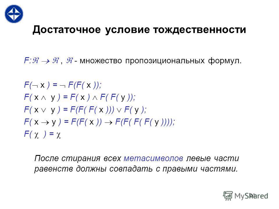 20 Достаточное условие тождественности F:, - множество пропозициональных формул. F( x ) = F(F( x )); F( x y ) = F( x ) F( F( y )); F( x y ) = F(F( F( x ))) F( y ); F( x y ) = F(F( x )) F(F( F( F( y )))); F( ) = После стирания всех метасимволов левые