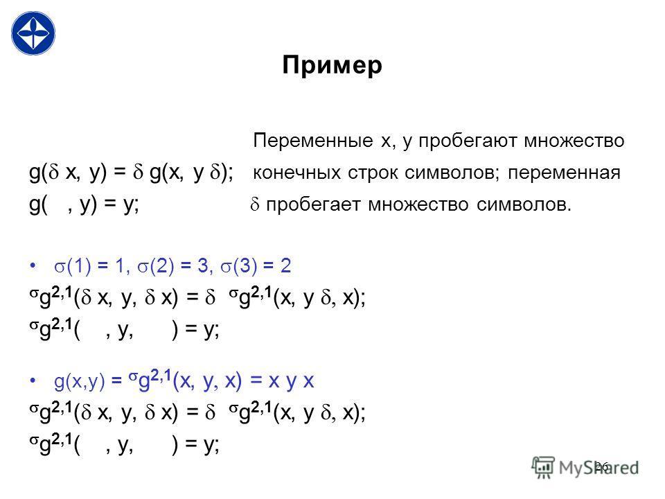 26 Пример Переменные x, y пробегают множество g( x, y) = g(x, y ); конечных строк символов; переменная g(, y) = y; пробегает множество символов. (1) = 1, (2) = 3, (3) = 2 g 2,1 ( x, y, x) = g 2,1 (x, y, x); g 2,1 (, y, ) = y; g(x,y) = g 2,1 (x, y, x)