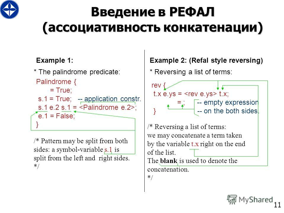 11 Введение в РЕФАЛ (ассоциативность конкатенации) Palindrome { = True; s.1 = True; -- application constr. s.1 e.2 s.1 = ; e.1 = False; } * The palindrome predicate: Example 1: Example 2: (Refal style reversing) * Reversing a list of terms: rev { t.x
