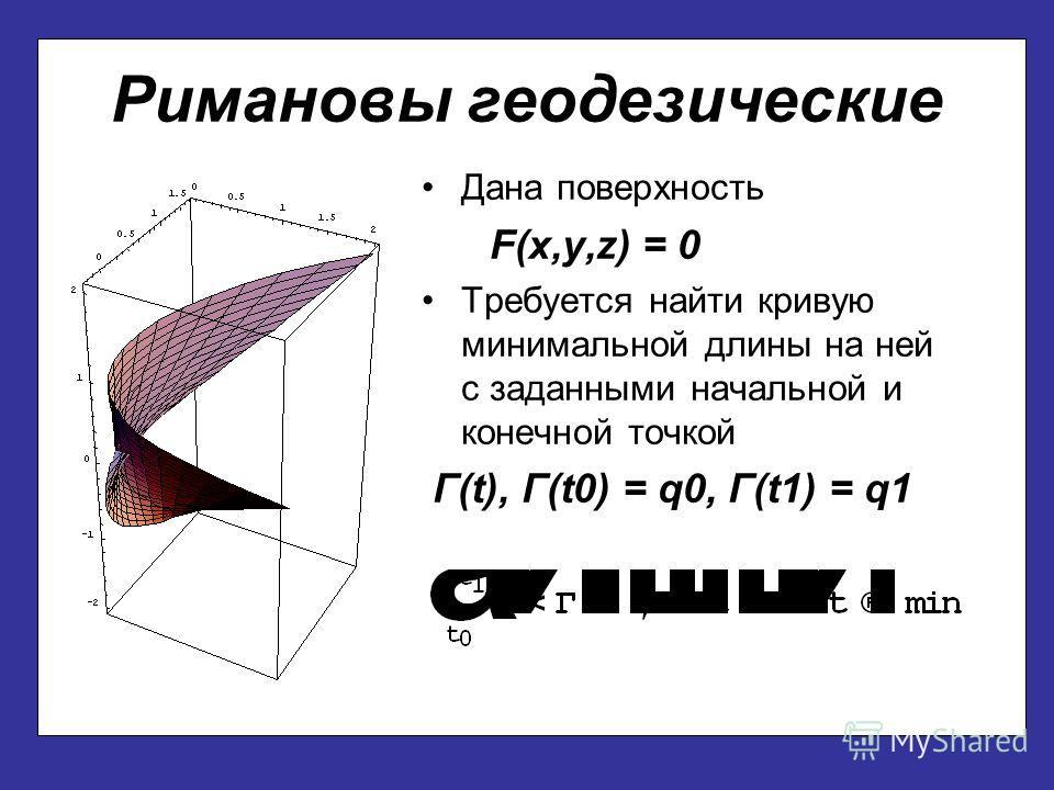 Римановы геодезические Дана поверхность F(x,y,z) = 0 Требуется найти кривую минимальной длины на ней с заданными начальной и конечной точкой Г(t), Г(t0) = q0, Г(t1) = q1