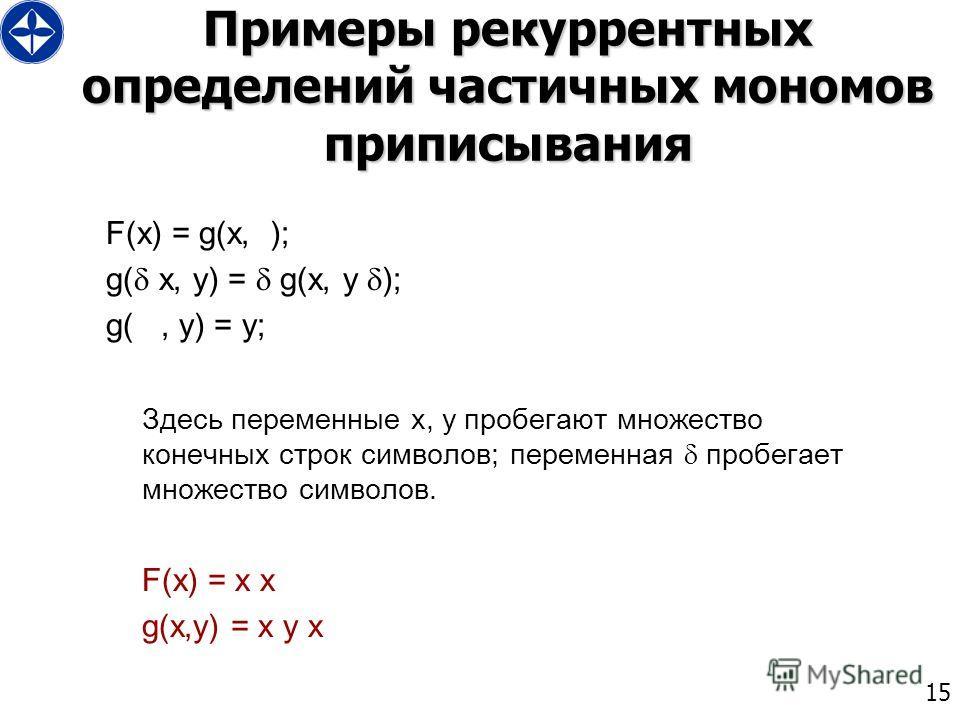 15 Примеры рекуррентных определений частичных мономов приписывания F(x) = g(x, ); g( x, y) = g(x, y ); g(, y) = y; Здесь переменные x, y пробегают множество конечных строк символов; переменная пробегает множество символов. F(x) = x x g(x,y) = x y x