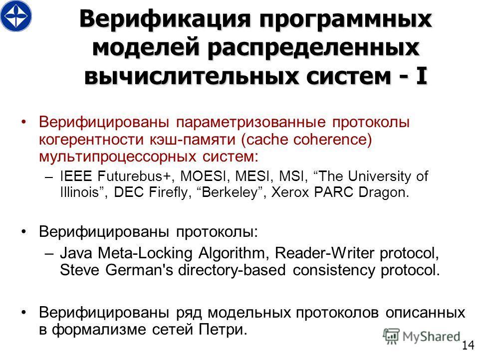 14 Верификация программных моделей распределенных вычислительных систем - I Верифицированы параметризованные протоколы когерентности кэш-памяти (cache coherence) мультипроцессорных систем: –IEEE Futurebus+, MOESI, MESI, MSI, The University of Illinoi