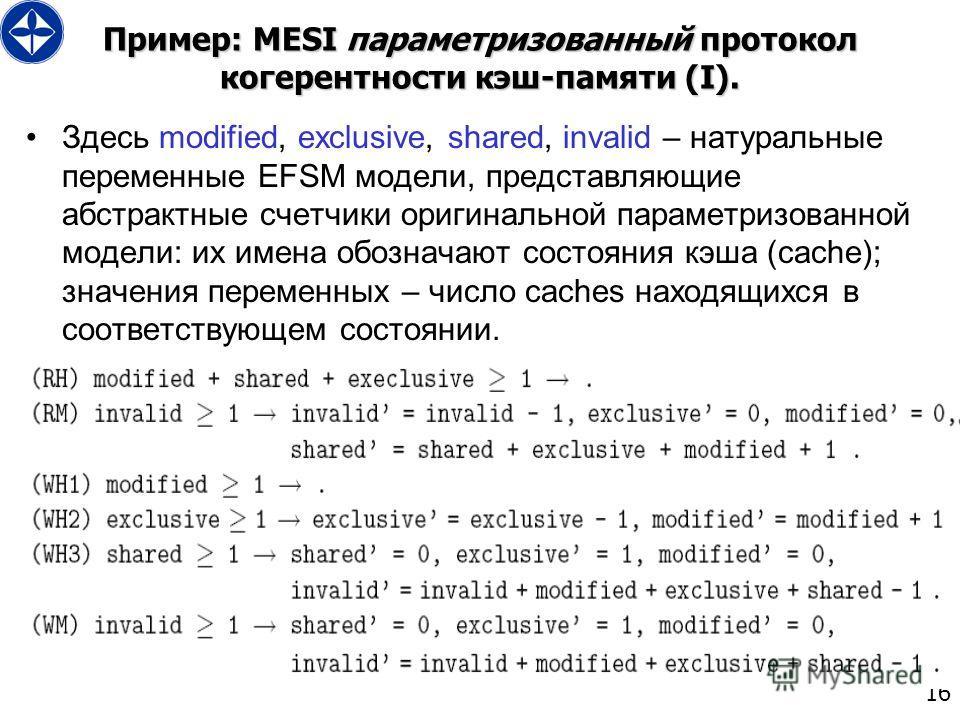 16 Пример: MESI параметризованный протокол когерентности кэш-памяти (I). Здесь modified, exclusive, shared, invalid – натуральные переменные EFSM модели, представляющие абстрактные счетчики оригинальной параметризованной модели: их имена обозначают с