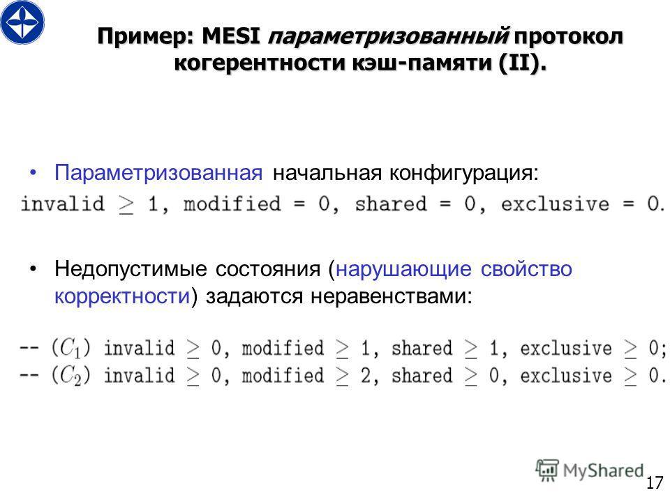 17 Пример: MESI параметризованный протокол когерентности кэш-памяти (II). Параметризованная начальная конфигурация: Недопустимые состояния (нарушающие свойство корректности) задаются неравенствами: