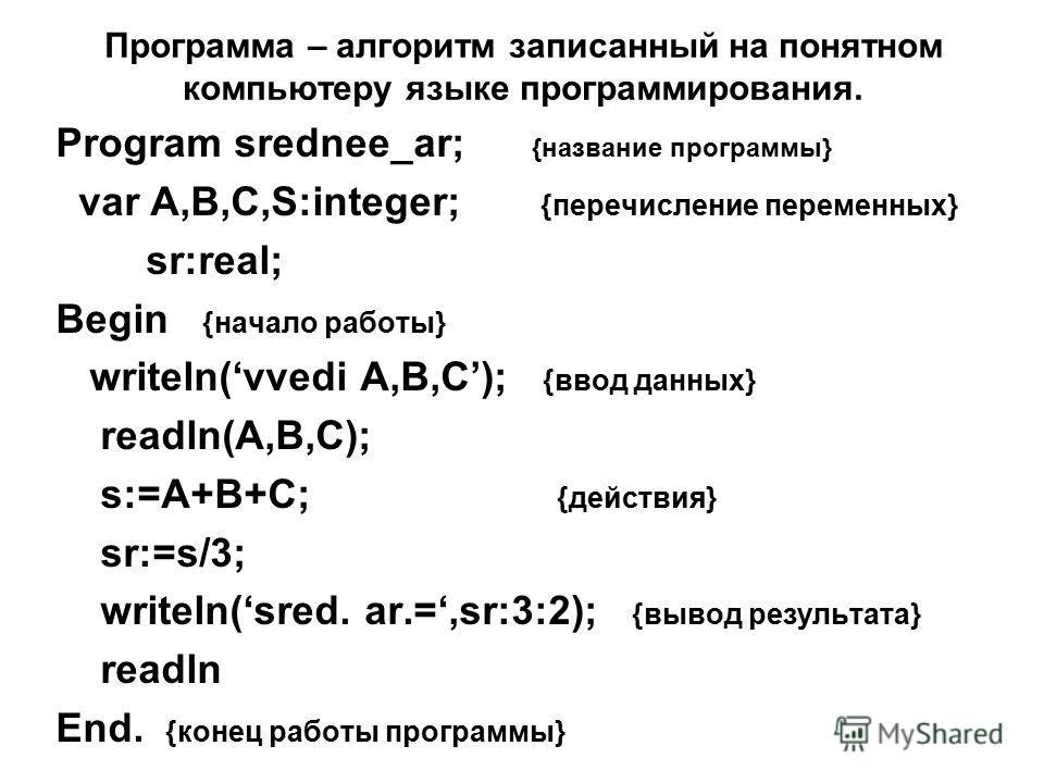 Программа – алгоритм записанный на понятном компьютеру языке программирования. Program srednee_ar; {название программы} var A,B,C,S:integer; {перечисление переменных} sr:real; Begin {начало работы} writeln(vvedi A,B,C); {ввод данных} readln(A,B,C); s