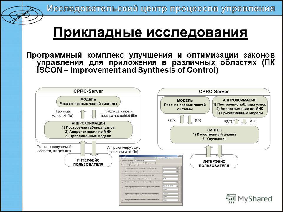 Прикладные исследования Программный комплекс улучшения и оптимизации законов управления для приложения в различных областях (ПК ISCON – Improvement and Synthesis of Control)