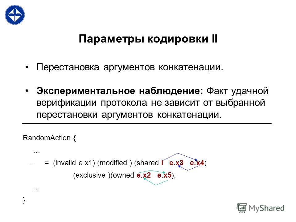 Параметры кодировки II Перестановка аргументов конкатенации. Экспериментальное наблюдение: Факт удачной верификации протокола не зависит от выбранной перестановки аргументов конкатенации. RandomAction { … … = (invalid e.x1) (modified ) (shared I e.x3