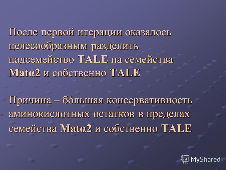 После первой итерации оказалось целесообразным разделить надсемейство TALE на семейства Matα2 и собственно TALE Причина – бóльшая консервативность аминокислотных остатков в пределах семейства Matα2 и собственно TALE