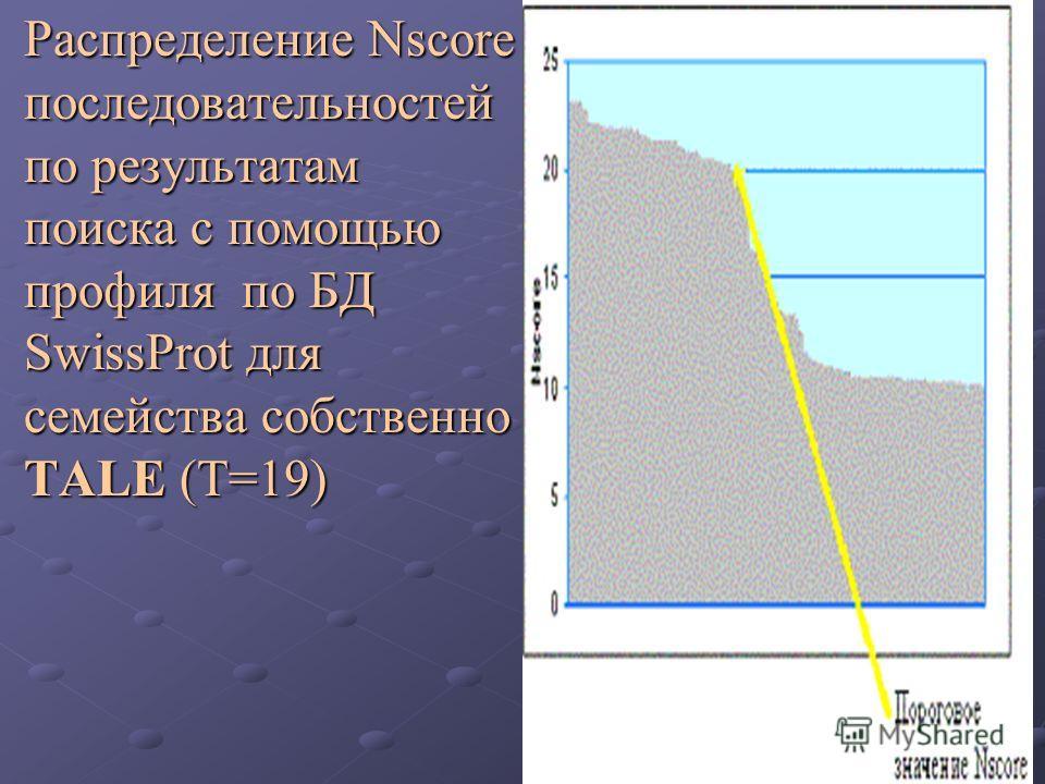 Распределение Nscore последовательностей по результатам поиска с помощью профиля по БД SwissProt для семейства собственно TALE (T=19) Распределение Nscore последовательностей по результатам поиска с помощью профиля по БД SwissProt для семейства собст