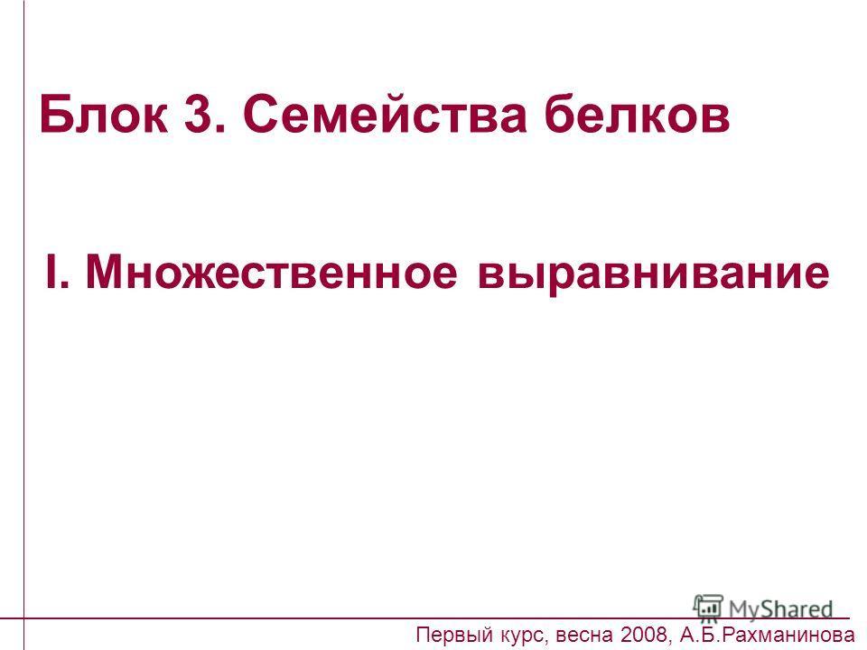 Блок 3. Семейства белков I. Множественное выравнивание Первый курс, весна 2008, А.Б.Рахманинова