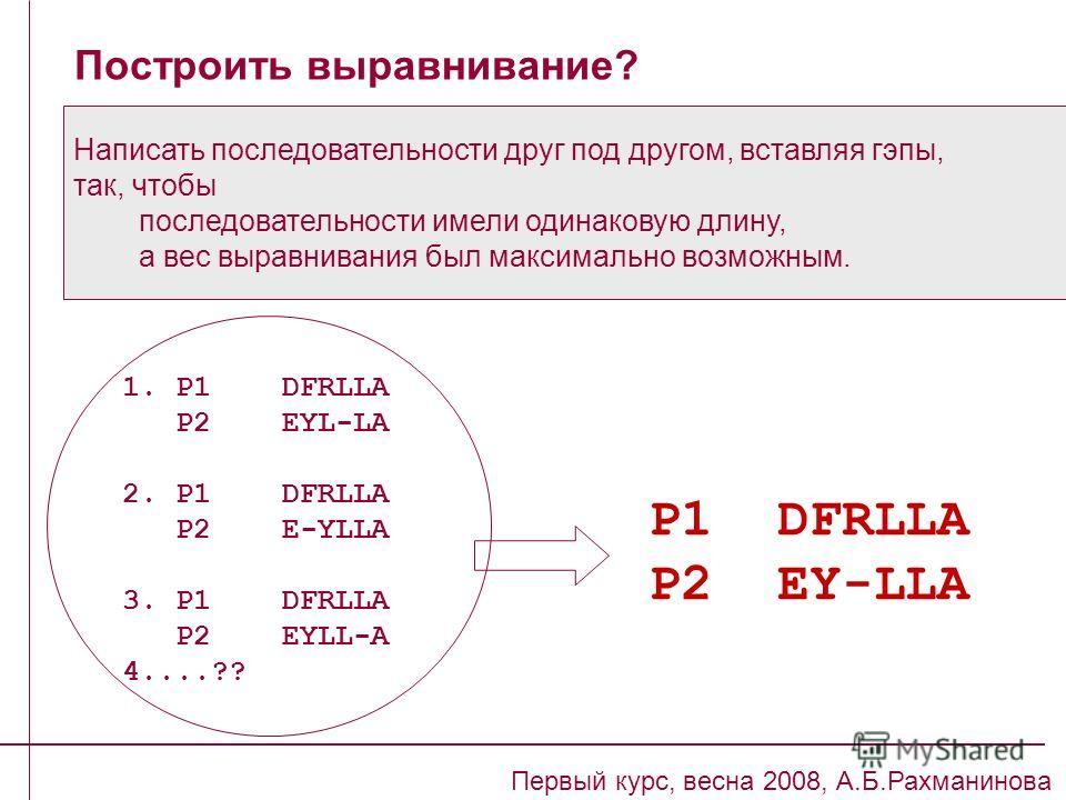 Построить выравнивание? Первый курс, весна 2008, А.Б.Рахманинова Написать последовательности друг под другом, вставляя гэпы, так, чтобы последовательности имели одинаковую длину, а вес выравнивания был максимально возможным. P1 DFRLLA P2 EY-LLA 1. P1