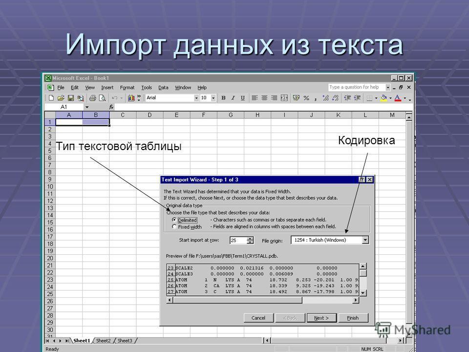 Тип текстовой таблицы Кодировка