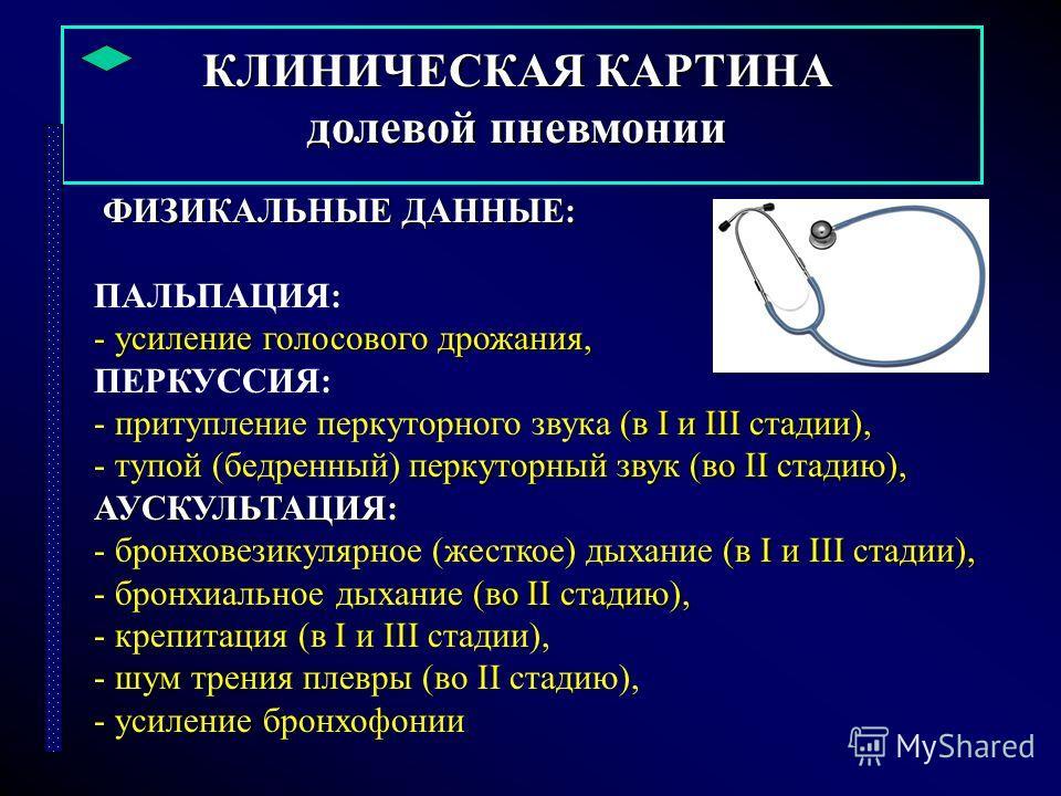 КЛИНИЧЕСКАЯ КАРТИНА долевой пневмонии ФИЗИКАЛЬНЫЕ ДАННЫЕ: ФИЗИКАЛЬНЫЕ ДАННЫЕ: ПАЛЬПАЦИЯ: - усиление голосового дрожания, ПЕРКУССИЯ: (в I и III стадии), - притупление перкуторного звука (в I и III стадии), перкуторный звук (во II стадию), - тупой (бед