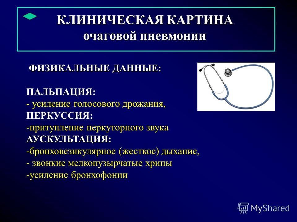 КЛИНИЧЕСКАЯ КАРТИНА очаговой пневмонии ФИЗИКАЛЬНЫЕ ДАННЫЕ: ФИЗИКАЛЬНЫЕ ДАННЫЕ: ПАЛЬПАЦИЯ: - усиление голосового дрожания, ПЕРКУССИЯ: -притупление перкуторного звукаАУСКУЛЬТАЦИЯ: -бронховезикулярное (жесткое) дыхание, - звонкие мелкопузырчатые хрипы -