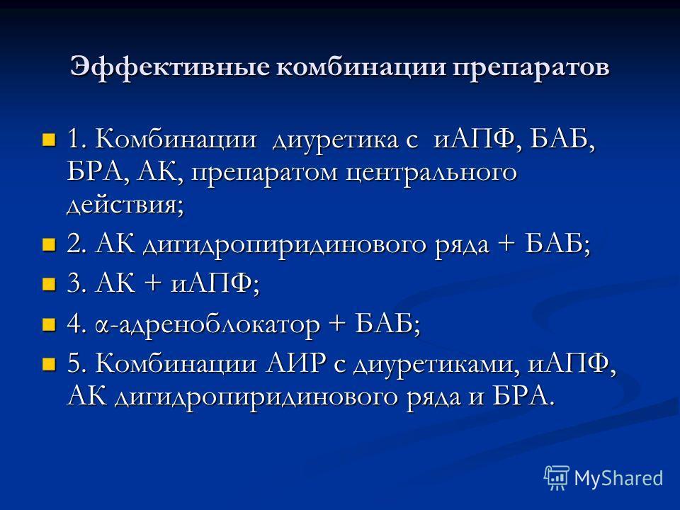 Эффективные комбинации препаратов 1. Комбинации диуретика с иАПФ, БАБ, БРА, АК, препаратом центрального действия; 1. Комбинации диуретика с иАПФ, БАБ, БРА, АК, препаратом центрального действия; 2. АК дигидропиридинового ряда + БАБ; 2. АК дигидропирид