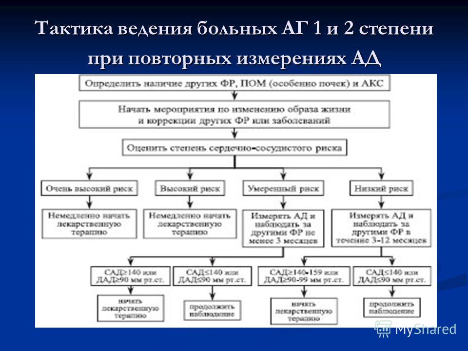 Тактика ведения больных АГ 1 и 2 степени при повторных измерениях АД
