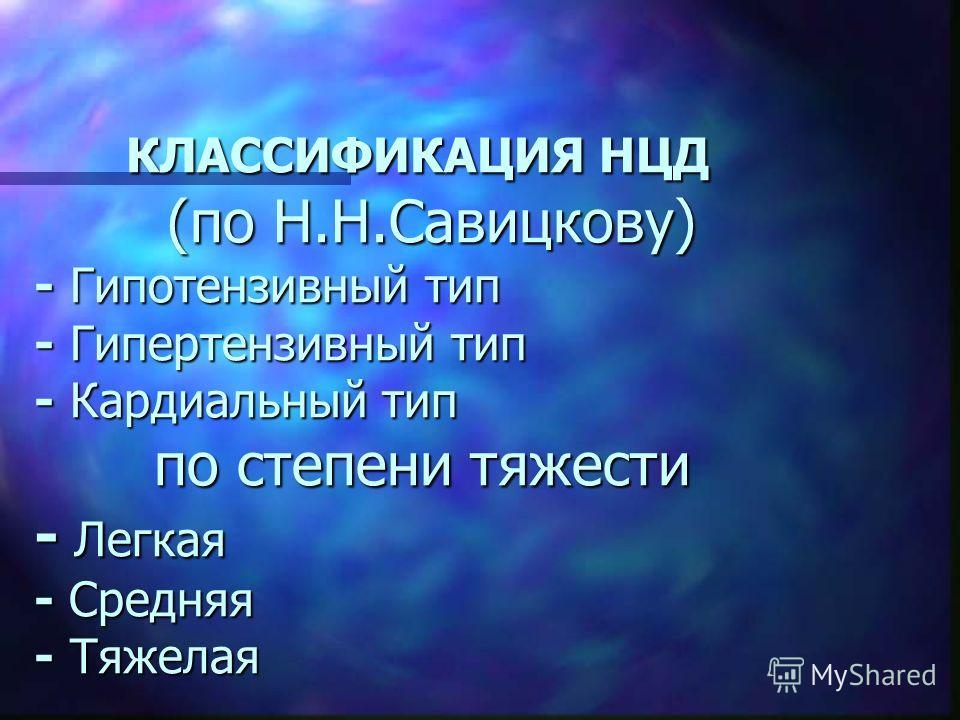 КЛАССИФИКАЦИЯ НЦД (по Н.Н.Савицкову) - Гипотензивный тип - Гипертензивный тип - Кардиальный тип по степени тяжести - Легкая - Средняя - Тяжелая КЛАССИФИКАЦИЯ НЦД (по Н.Н.Савицкову) - Гипотензивный тип - Гипертензивный тип - Кардиальный тип по степени