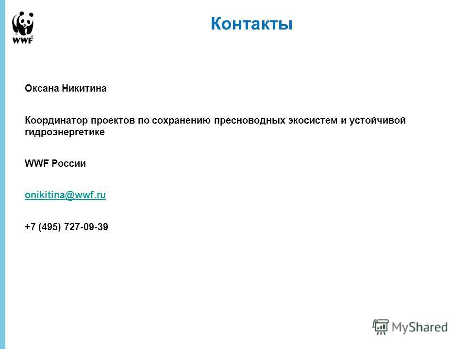 14 December 2013 - 12 Контакты Оксана Никитина Координатор проектов по сохранению пресноводных экосистем и устойчивой гидроэнергетике WWF России onikitina@wwf.ru +7 (495) 727-09-39