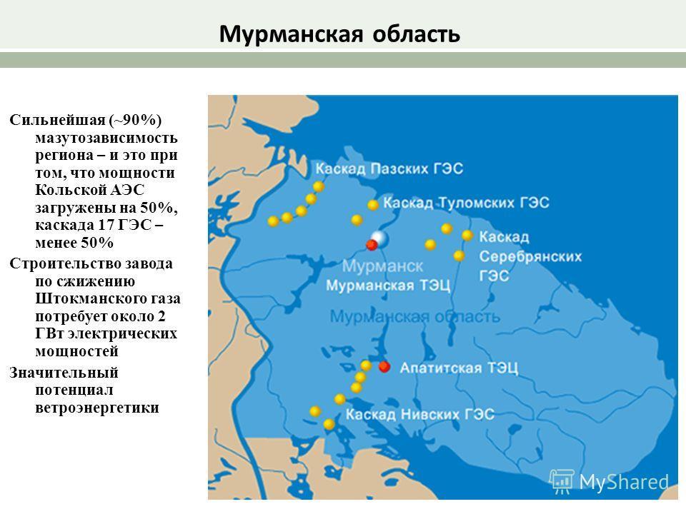 Сильнейшая (~90%) мазутозависимость региона – и это при том, что мощности Кольской АЭС загружены на 50%, каскада 17 ГЭС – менее 50% Строительство завода по сжижению Штокманского газа потребует около 2 ГВт электрических мощностей Значительный потенциа
