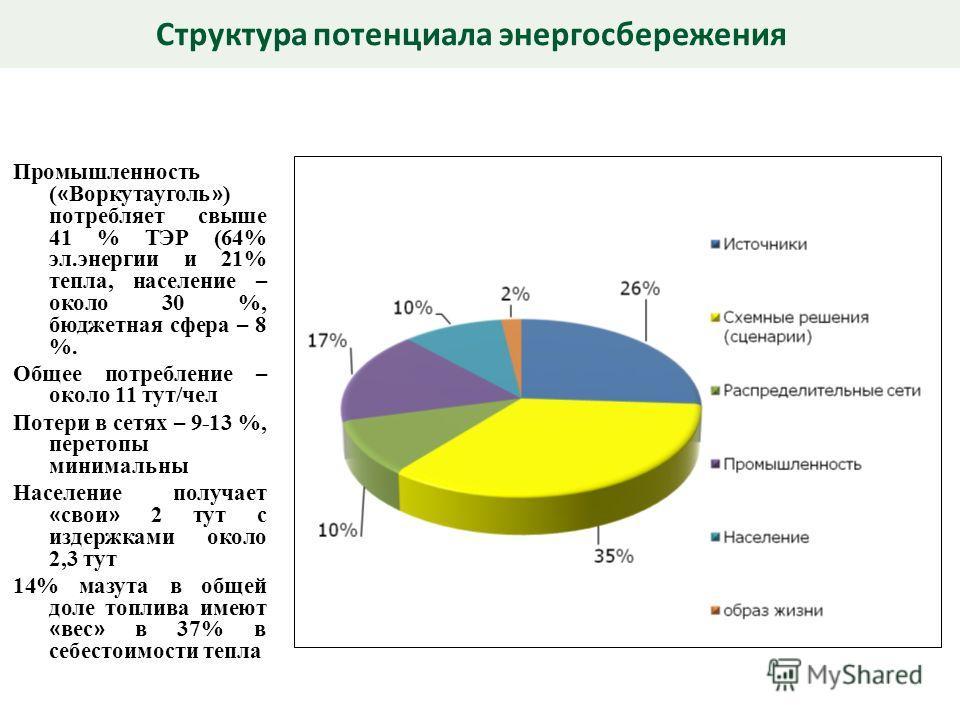 Промышленность ( « Воркутауголь » ) потребляет свыше 41 % ТЭР (64% эл.энергии и 21% тепла, население – около 30 %, бюджетная сфера – 8 %. Общее потребление – около 11 тут/чел Потери в сетях – 9-13 %, перетопы минимальны Население получает « свои » 2