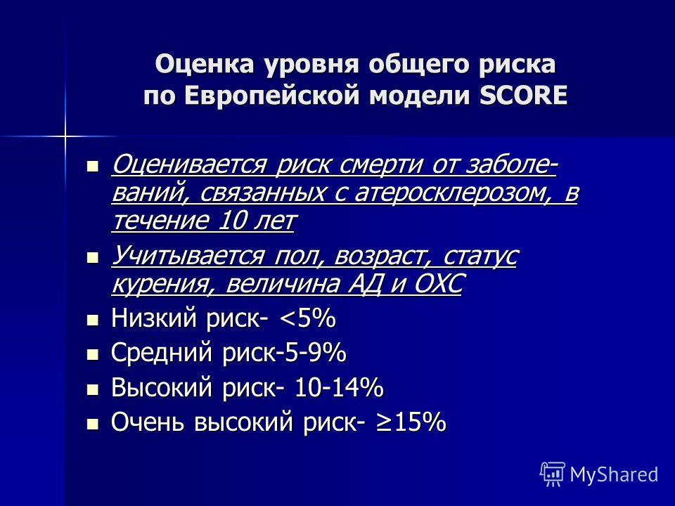 Оценка уровня общего риска по Европейской модели SCORE Оценивается риск смерти от заболе- ваний, связанных с атеросклерозом, в течение 10 лет Оценивается риск смерти от заболе- ваний, связанных с атеросклерозом, в течение 10 лет Учитывается пол, возр