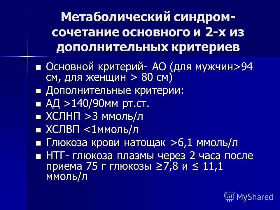 Метаболический синдром- сочетание основного и 2-х из дополнительных критериев Основной критерий- АО (для мужчин>94 см, для женщин > 80 cм) Основной критерий- АО (для мужчин>94 см, для женщин > 80 cм) Дополнительные критерии: Дополнительные критерии: