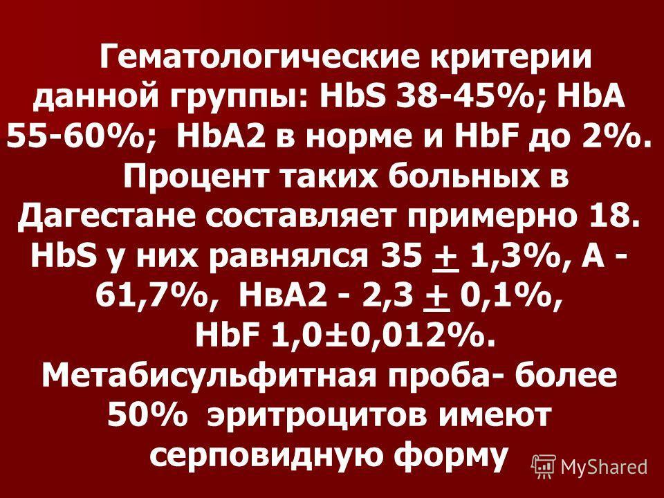 Гематологические критерии данной группы: HbS 38-45%; HbA 55-60%; HbA2 в норме и HbF до 2%. Процент таких больных в Дагестане составляет примерно 18. НbS у них равнялся 35 + 1,3%, А - 61,7%, НвА2 - 2,3 + 0,1%, НbF 1,0±0,012%. Метабисульфитная проба- б