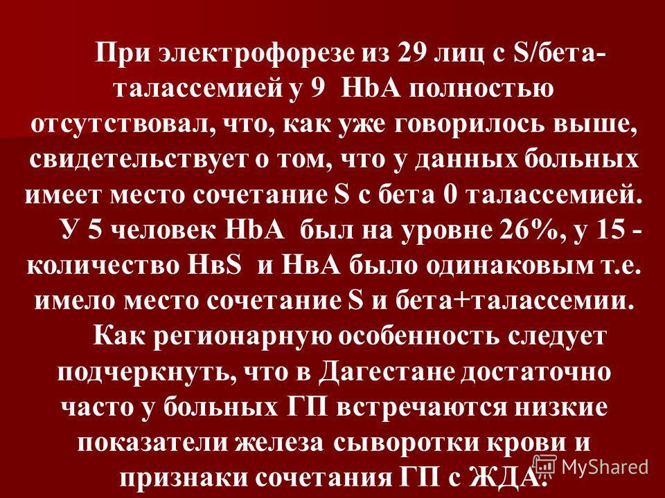 При электрофорезе из 29 лиц с S/бета- талассемией у 9 HbА полностью отсутствовал, что, как уже говорилось выше, свидетельствует о том, что у данных больных имеет место сочетание S с бета 0 талассемией. У 5 человек HbА был на уровне 26%, у 15 - количе